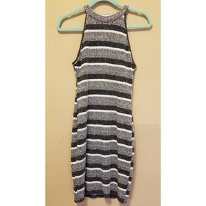 High Neck Ribbed Sweater Dress